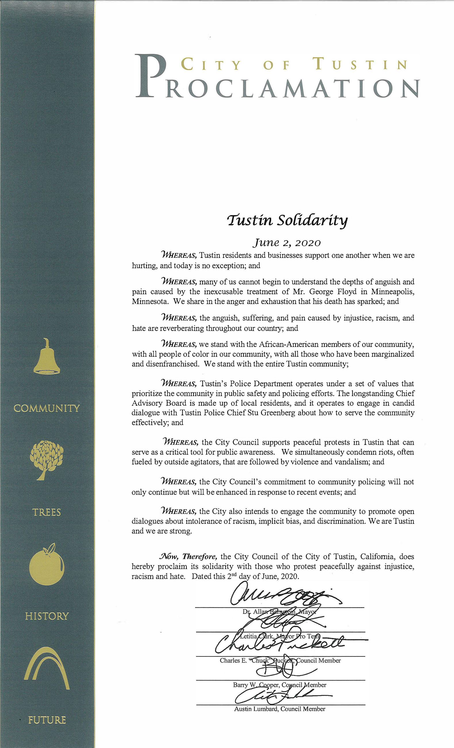 Tustin Solidarity Proclamation June 2 2020