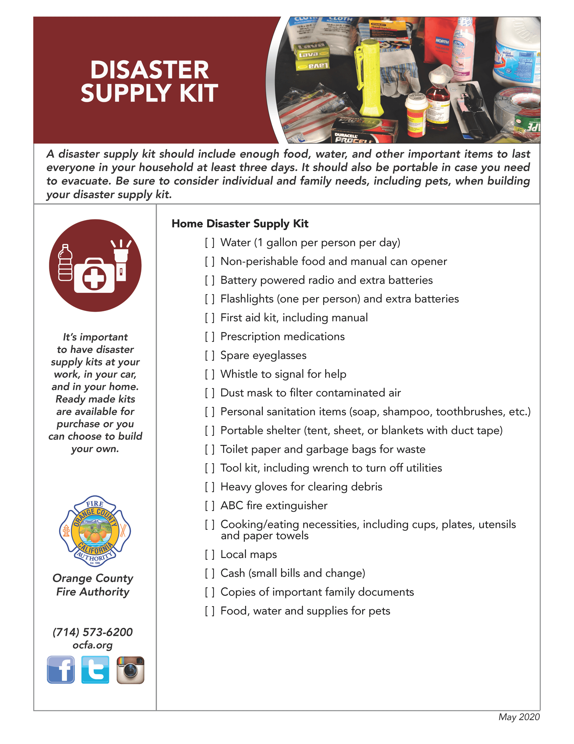 OCFA - Disaster Supply Kit
