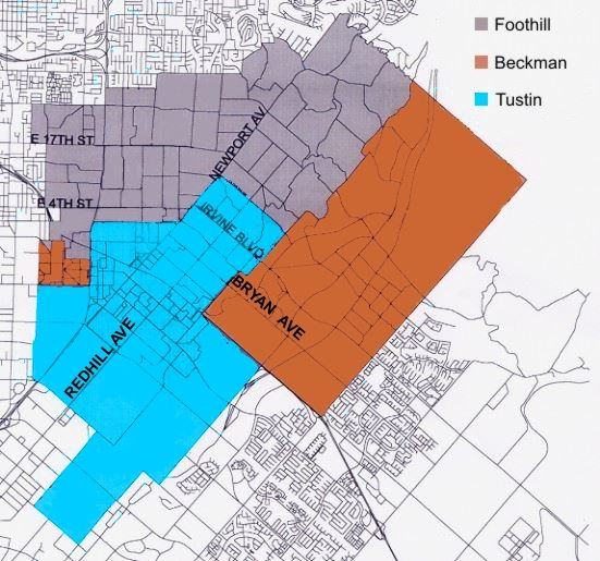Tustin Unified School District High School Boundary Map