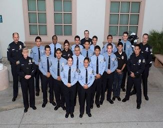 Explorer Program members with police officers